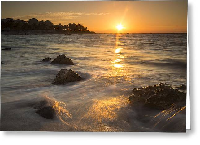 Beach Scenery Greeting Cards - Mayan Coastal Sunrise Greeting Card by Adam Romanowicz
