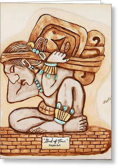 work Reliefs Greeting Cards - Mayan God of Time Greeting Card by Alberto H-B