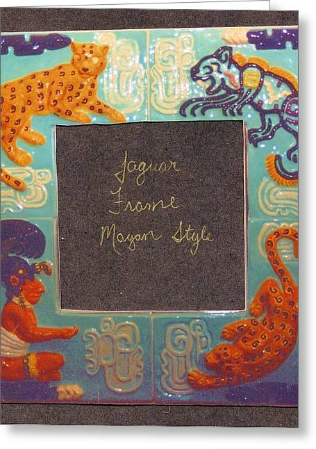 Ceramic Ceramics Greeting Cards - Mayan Jaguar Frame Greeting Card by Charles Lucas