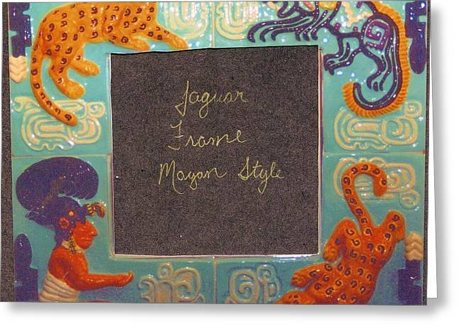 Mayan Jaguar Frame Greeting Card by Charles Lucas