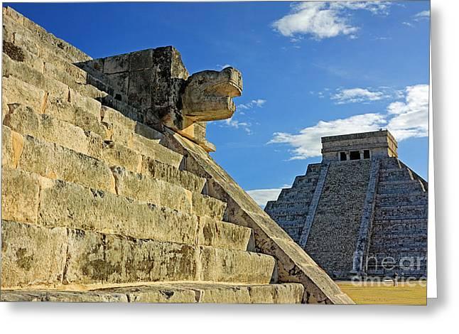 El Castillo Greeting Cards - Mayan Ruins Chichen Itza Greeting Card by Charline Xia