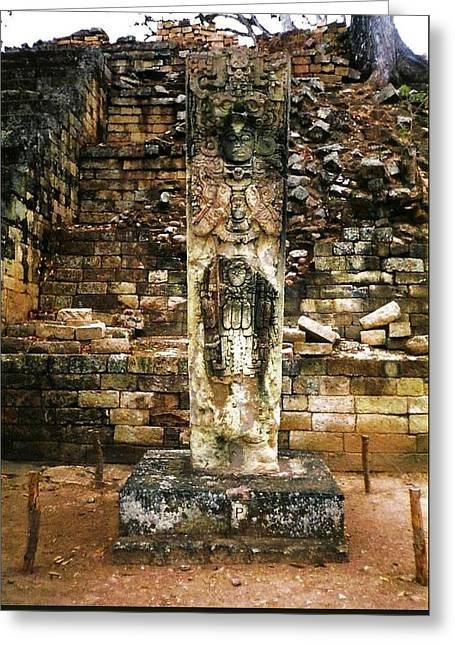Mayan Dog Greeting Cards - Mayan Ruins Honduras  Stela P Greeting Card by Mary Weigand