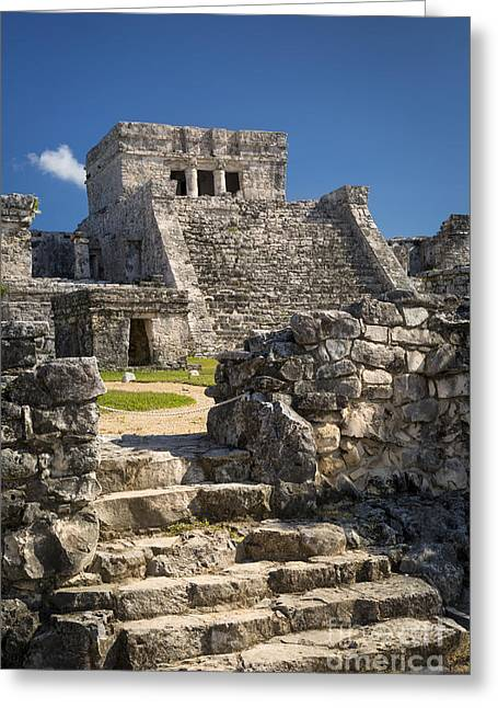 Stepping Stones Greeting Cards - Mayan Temple Ruins Greeting Card by Brian Jannsen