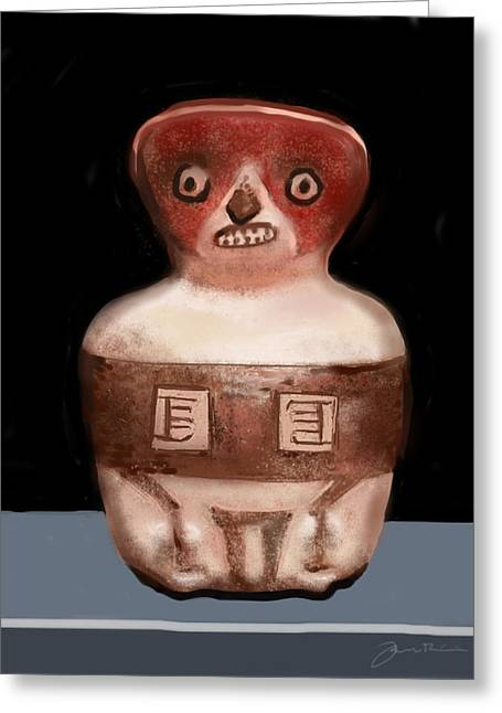 Mayan Whistle Greeting Card by Jean Pacheco Ravinski