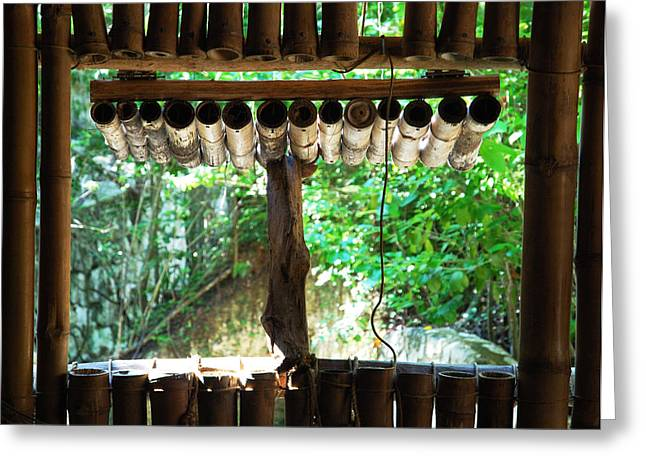 Bamboo House Greeting Cards - Mayan Window Greeting Card by Ramunas Bruzas