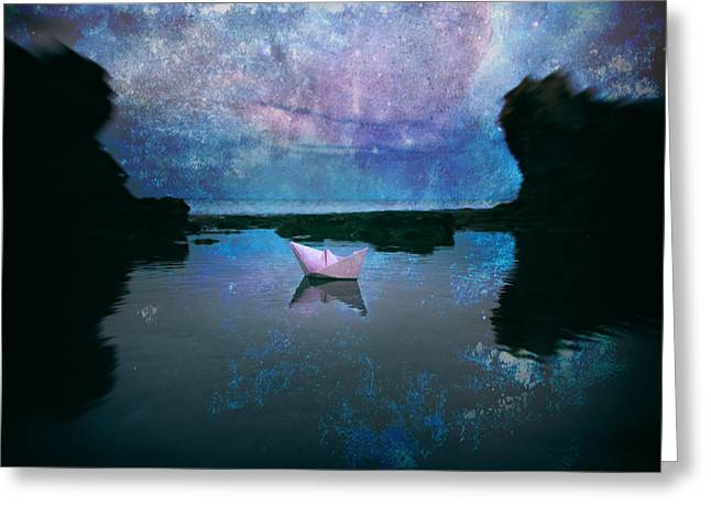 Blue Sailboat Greeting Cards - Maybe Stars Greeting Card by Stylianos Kleanthous