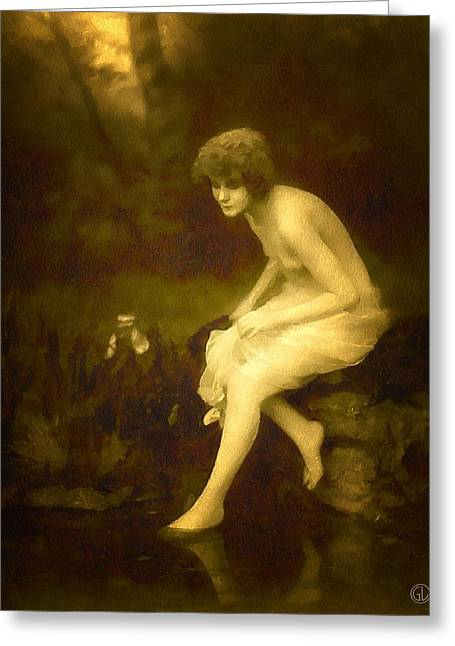 Woman Of The Forest Greeting Cards - Maybe the siren of the woods Greeting Card by Gun Legler