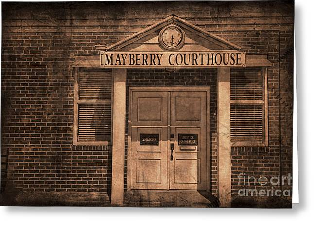 Andy Griffith Show Greeting Cards - Mayberry Courthouse Greeting Card by David Arment