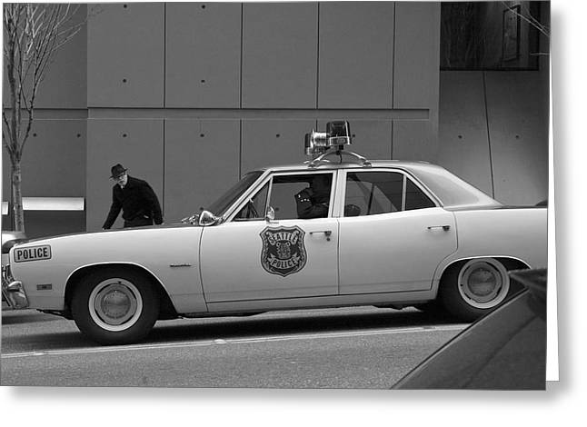 Police Cruiser Greeting Cards - Mayberry Meets Seattle - vintage police cruiser Greeting Card by Jane Eleanor Nicholas