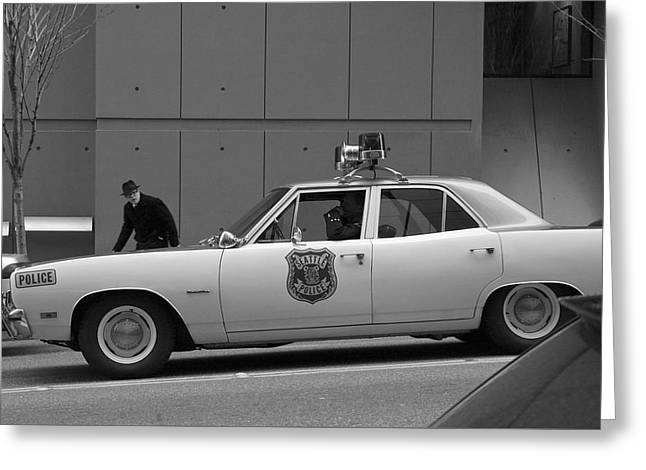 Old Police Cruiser Greeting Cards - Mayberry Meets Seattle - vintage police cruiser Greeting Card by Jane Eleanor Nicholas