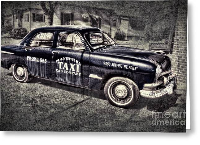 Andy Griffith Show Greeting Cards - Mayberry Taxi Greeting Card by David Arment