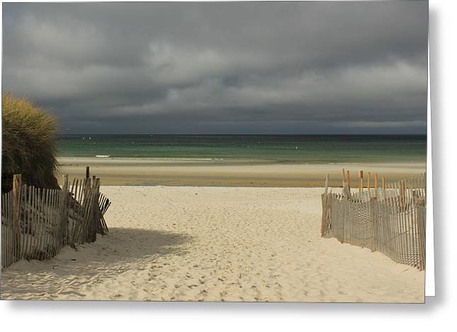 Mayflower Beach Storm Greeting Card by Amazing Jules
