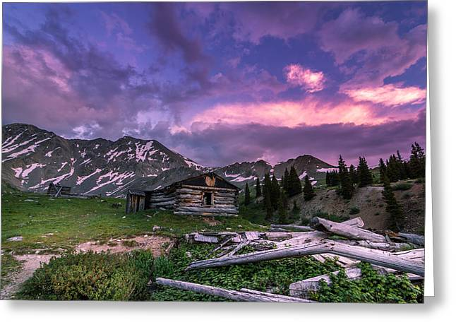 Adventure Greeting Cards - Mayflower Cabin Sunset Greeting Card by Michael J Bauer