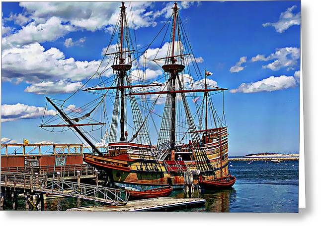 Tall Ship Greeting Cards - Mayflower Exhibit Greeting Card by Anthony Dezenzio