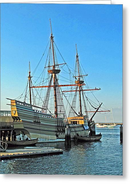 Wooden Ship Greeting Cards - Mayflower II Greeting Card by Barbara McDevitt