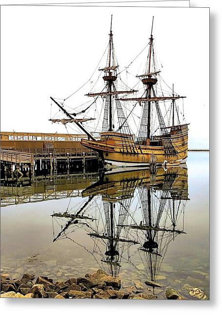 Recently Sold -  - Historic Ship Greeting Cards - Mayflower II Reflections Greeting Card by Janice Drew