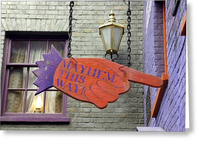 Directional Signage. Greeting Cards - Mayhem This Way Greeting Card by Laurie Perry