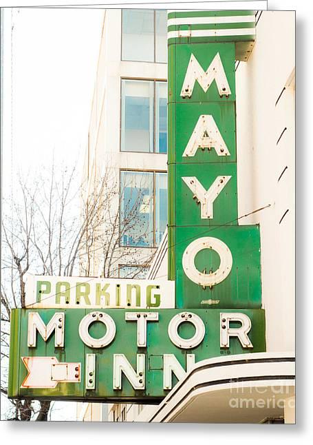 Tulsa Oklahoma. Architecture Greeting Cards - Mayo Motor Greeting Card by Sonja Quintero