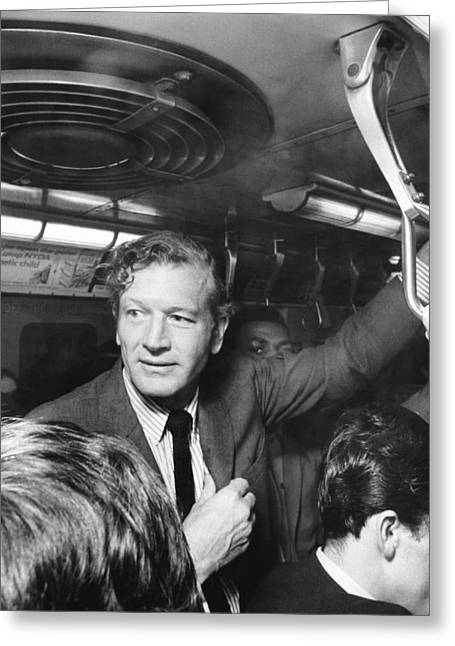 Only Mid Adult Men Greeting Cards - Mayor Lindsay Rides The Subway Greeting Card by Underwood Archives