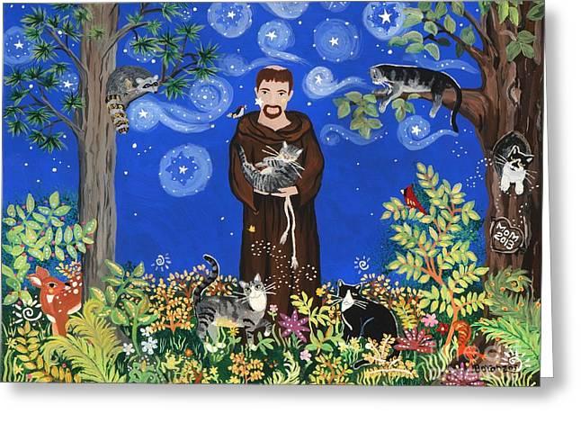 May's St. Francis Greeting Card by Sue Betanzos