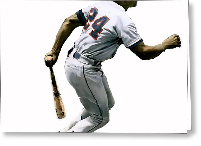 Baseball Print Paintings Greeting Cards - Mays III Willie Mays Greeting Card by Iconic Images Art Gallery David Pucciarelli
