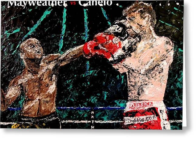 Pallet Knife Photographs Greeting Cards - Mayweather vs Canelo Greeting Card by Mark Moore