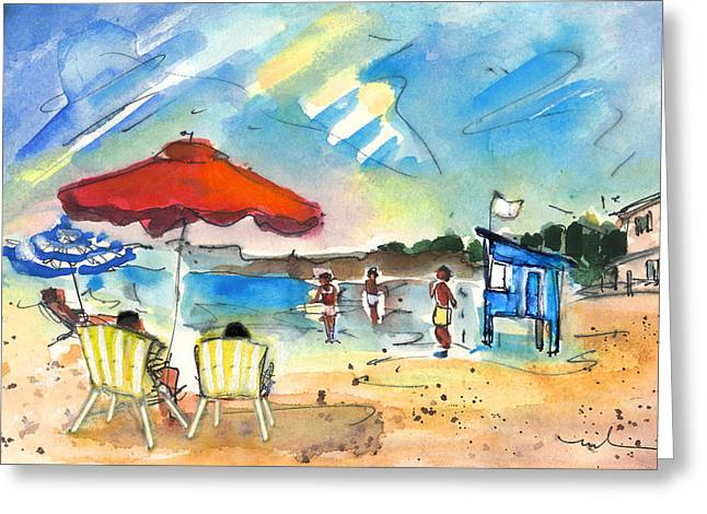 On The Beach Drawings Greeting Cards - Mazarron Beach 02 Greeting Card by Miki De Goodaboom