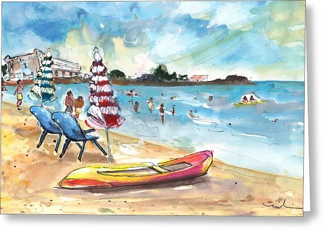 Canoe Drawings Greeting Cards - Mazarron Beach 03 Greeting Card by Miki De Goodaboom