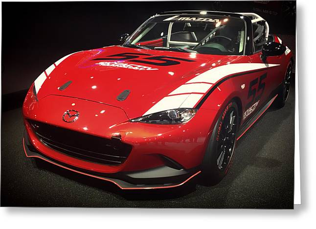 Mazda Greeting Cards - Mazda MX-5 Cup Car 2015 Greeting Card by Mountain Dreams