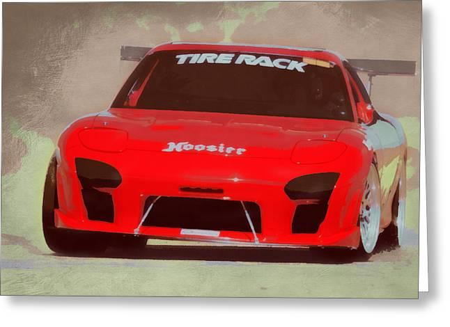 Mazda Greeting Cards - Mazda RX7 Race Car Pop Art Greeting Card by Ernie Echols