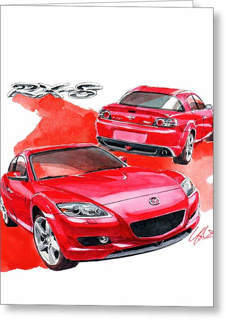 Mazda Greeting Cards - Mazda RX-8 Greeting Card by Yoshiharu Miyakawa