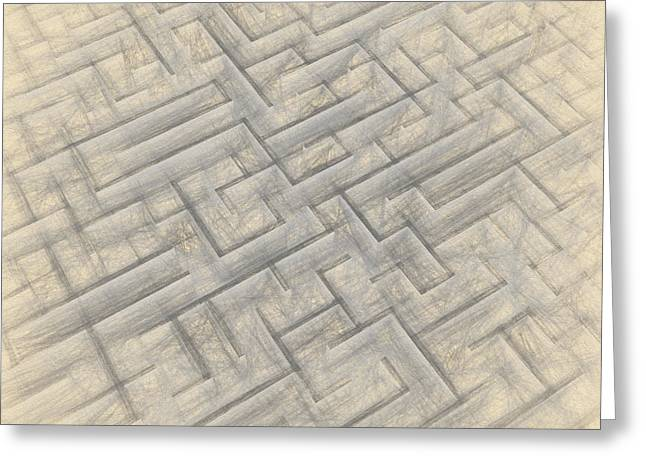 Strategy Drawings Greeting Cards - Maze sketch Greeting Card by Carsten Reisinger