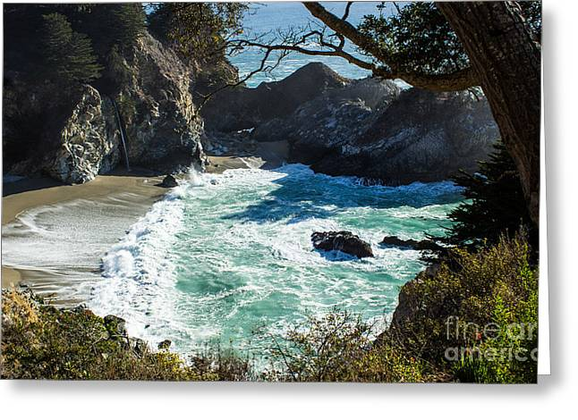 Pfeiffer Beach Greeting Cards - Mc Way Falls Cove Greeting Card by Suzanne Luft