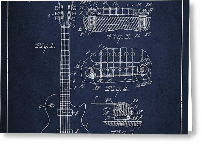 Mccarty Gibson Les Paul guitar patent Drawing from 1955 - Navy Blue Greeting Card by Aged Pixel
