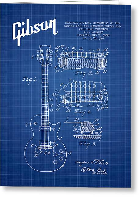 Mccarty Gibson Les Paul Guitar Patent Drawing From 1955 - Bluepr Greeting Card by Aged Pixel