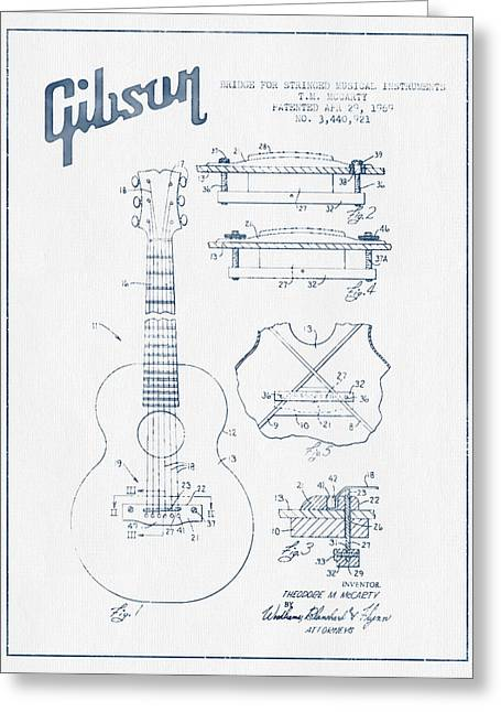 Mccarty Gibson Stringed Instrument Patent Drawing From 1969 - Bl Greeting Card by Aged Pixel