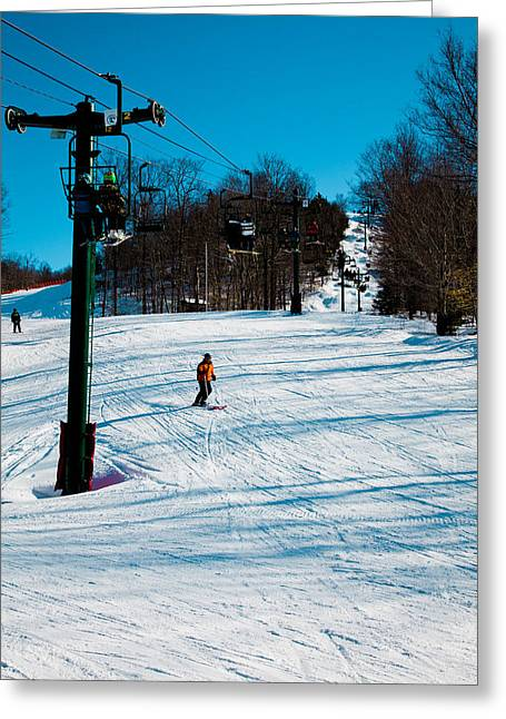 Chairlift Greeting Cards - McCauley Mountain Ski Area IV- Old Forge New York Greeting Card by David Patterson