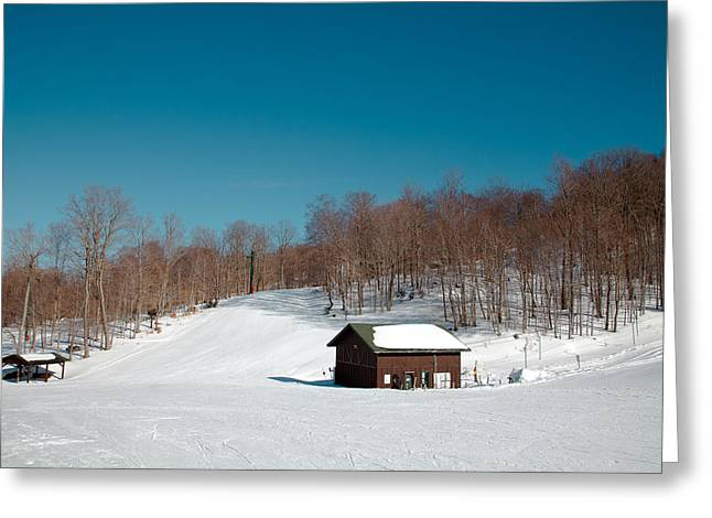 Chairlift Greeting Cards - McCauley Mountain Ski Area - Old Forge New York Greeting Card by David Patterson