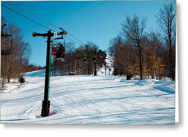 Chairlift Greeting Cards - McCauley Mountain Ski Area V- Old Forge New York Greeting Card by David Patterson