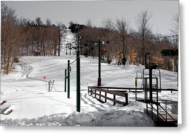 Chairlift Greeting Cards - McCauley Mountain Ski Area VI- Old Forge New York Greeting Card by David Patterson