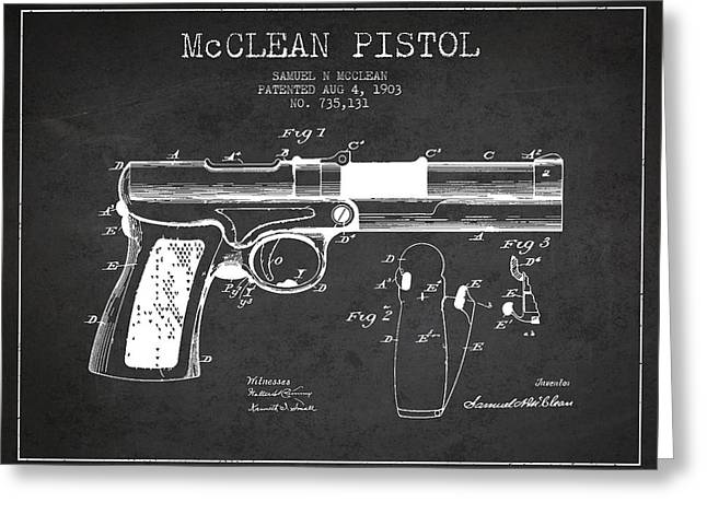 Pistol Greeting Cards - McClean Pistol Drawing from 1903 - Dark Greeting Card by Aged Pixel