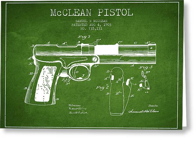 Pistol Greeting Cards - McClean Pistol Drawing from 1903 - Green Greeting Card by Aged Pixel