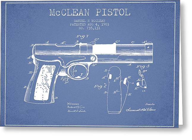 Pistol Greeting Cards - McClean Pistol Drawing from 1903 - Light Blue Greeting Card by Aged Pixel
