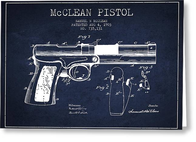 Pistol Greeting Cards - McClean Pistol Drawing from 1903 - Navy Blue Greeting Card by Aged Pixel