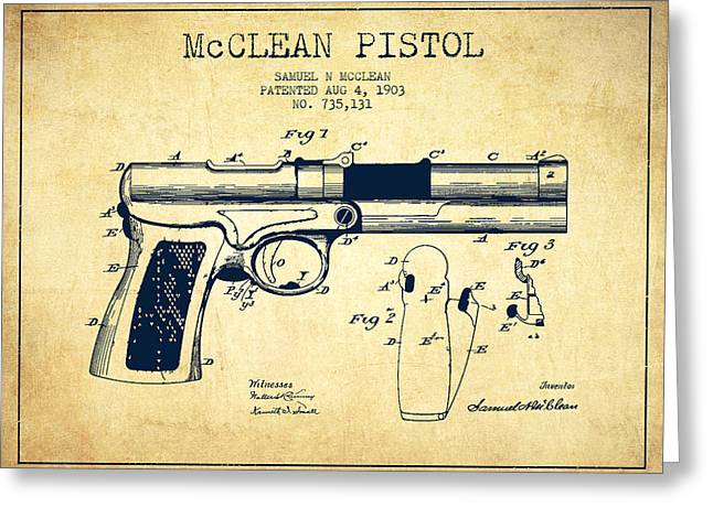 Pistol Greeting Cards - McClean Pistol Drawing from 1903 - Vintage Greeting Card by Aged Pixel