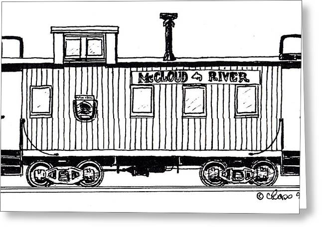 Caboose Drawings Greeting Cards - McCloud River Railroad Caboose Greeting Card by Craig Bass