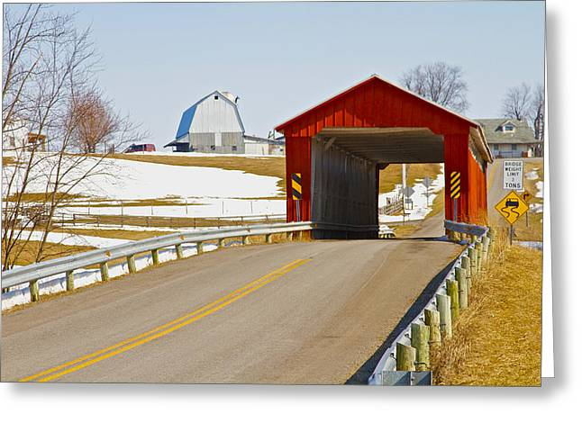 Covered Bridge Greeting Cards - McColly Covered Bridge Greeting Card by Jack R Perry