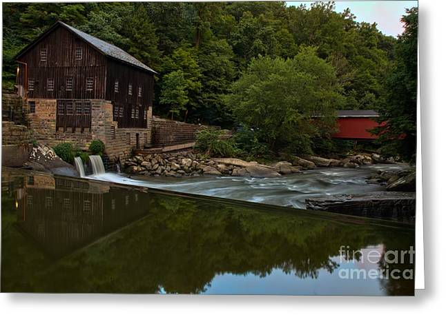 Mcconnells Mill Greeting Cards - McConnells Mill And A Covered Bridge Greeting Card by Adam Jewell