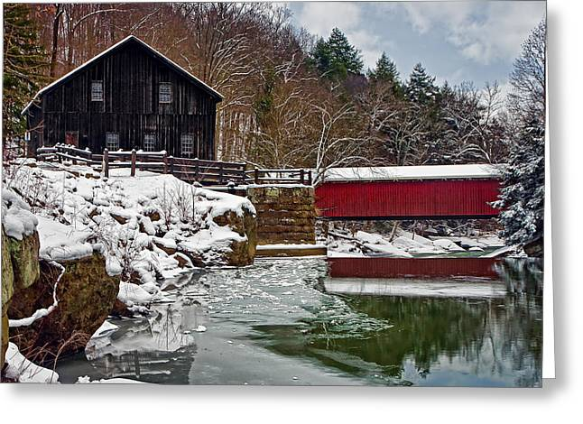 Grist Mill Greeting Cards - McConnells Mill and Bridge Greeting Card by Marcia Colelli