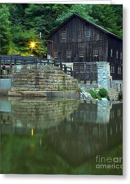 Mcconnells Mill Greeting Cards - McConnells Mill At Dusk Greeting Card by Adam Jewell